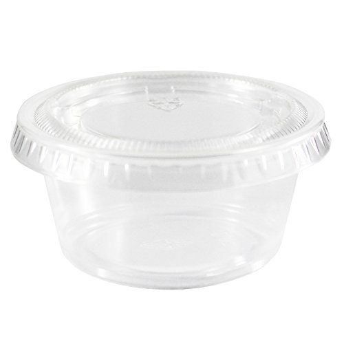 Plastic Souffle Portion Cup - EDI Clear Plastic Disposable Portion Cups/Souffle Cup with Lids (100, 2 oz)