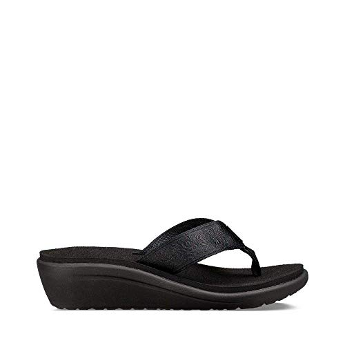 Teva Womens W Voya Wedge Flip-Flop, Motif Blackout, 9 M ()