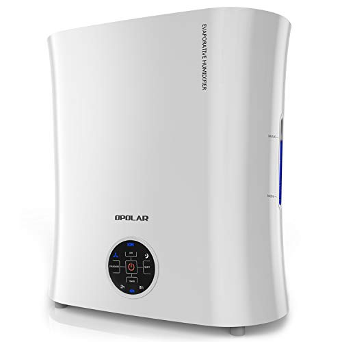 OPOLAR Digital Evaporative Humidifier for Babyroom & Bedroom, Purifying The Air w/Ionizer and Wicking Filter - No Mist & No Noise - Top Fill & Easy Clean - LED Panel &Timer - 0.8Gal Large Capacity