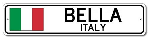 Emily Quality Aluminum Sign Bella Italy Italian Flag Sign Italy Custom Flag Sign Gift for Room Wall Yard Garage Fence Gardern Decor