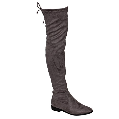 Beston FM33 Damen Stretchy Snug Fit Oberschenkel Hohe Kordelzug Block Heel Stiefel Grau