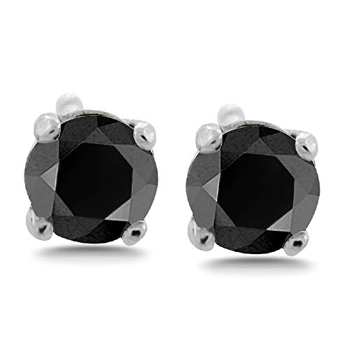 - 10 Ct plus tw 10 mm Round Brilliant cut Black Diamond Earrings Four Prong Stud Secure Threaded backs 14K Gold