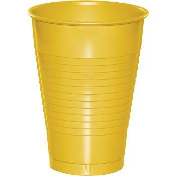 Premium 12 Oz. Plastic Cup 20-Pack: School Bus Yellow
