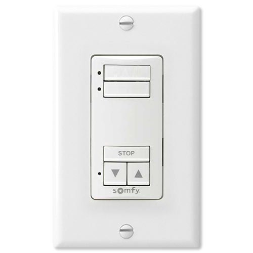 Somfy DecoFlex WireFree RTS Wall Switch, 2 Channel, White (1811068)