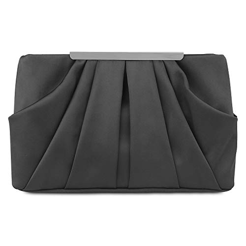 Womens Pleated Satin Evening Handbag Clutch With Detachable Chain Strap Wedding Cocktail Party Bag Black