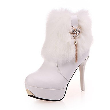 Heart&M Mujer Zapatos PU Invierno Confort Botas Tacón Stiletto Dedo redondo Para Vestido Fiesta y Noche Blanco Negro black