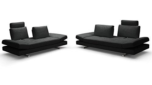 Zuri Furniture Bentley Black Top Grain Leather Modern Sofa Set With Loveseat