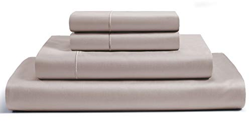 CHATEAU HOME COLLECTION 800 Thread Count 100% Egyptian Cotton Sheets Sets Deep Pocket Best Bed Sheets - Single ply Pure Natural Cotton Sheets Queen Size Sateen Weave Queen Cotton Sheet Sets, Taupe