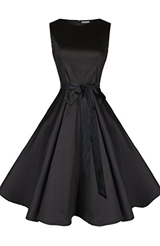 Absolute Rosy Women's Boat Neck Sleeveless Vintage Retro Cocktail Swing Dress Black M