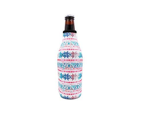 Beer Bottle Cooler Sleeve Zip Top Insulator Coolie Hugger Holder (Norwegian Sweater)