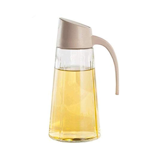 Drizom Non-Drip Glass Oil & Vinegar Container And Dispenser Bottle With Automatic Cap, Leakproof, Automatic Stopper, Precise-Pour Spout, And Non-Slip Handle?17oz (Apricot)