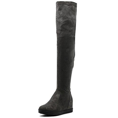 Flat Ollio Faux Stretch High Women's Platform Long Thigh Suede Boots Grey Shoes ar8a74