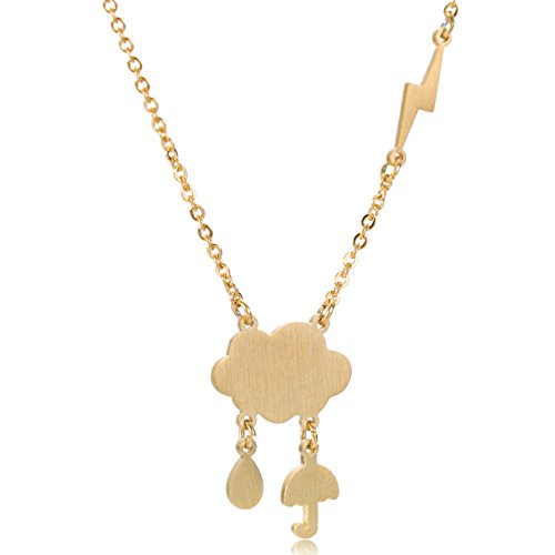 Lighting Bolt (Cloud Lighting Bolt Sunny Rain Necklace - Earring Best Friend Necklaces Gold)
