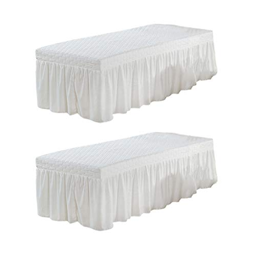 Flameer 2pcs Standard Massage Table Skirt Beauty Facial Bed Mattress Sheet Cover with 21inch Drop Valance 73x28inch White