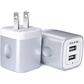 Amazon.com: Wall Charger, Ailkin Dual Port Charger Cube,with ...