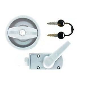 Trigano - Cerradura redonda con cilindro para caravana - Color blanco y gris: Amazon.es: Coche y moto