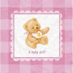 Sweet Bear Pink   Girl Baby Shower Napkins 16 Count