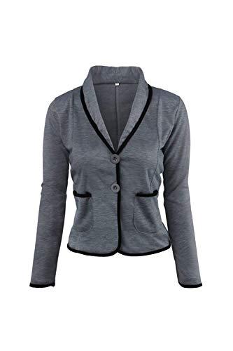 Slim Lunga Blazer Button Giacche Primaverile Casual Eleganti Cappotto Ragazza Moda Colori Donna Tasche Manica Vintage Darkgrey Con Autunno Tailleur Giacca Fit Misti Da wRgvqZ
