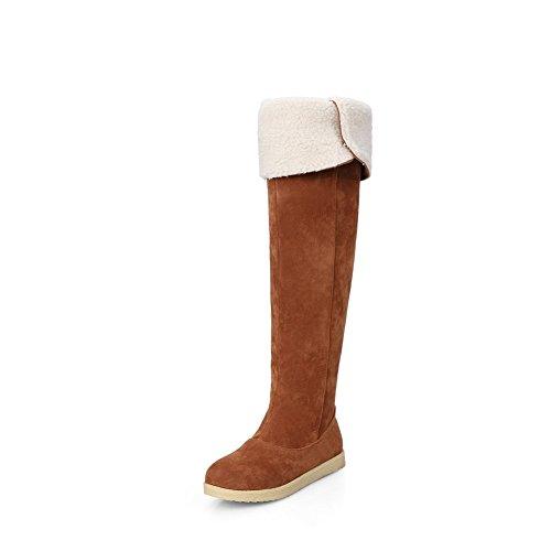AllhqFashion Damen Oberschenkel Hohe Niedriger Absatz Rein Blend-Materialien Stiefel Braun