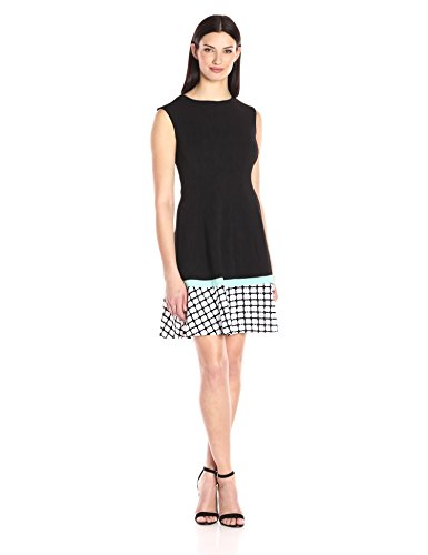 Sandra Darren Women's 1 Pc Sleeveless Extended Shoulder Solid Knit with Border Print Sheath Dress, Black/Mint/Ivory, 12