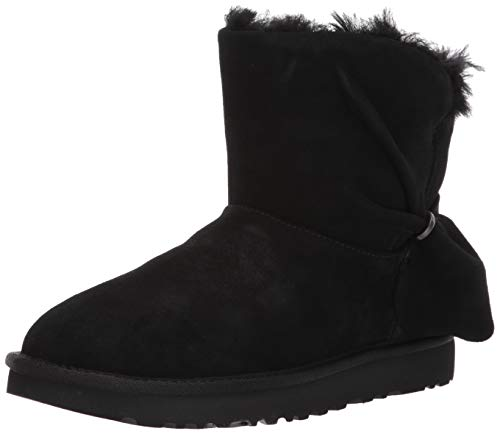 UGG Women's Classic Mini Twist Fashion Boot Black 12 M US (Uggs Leather Black Boots)