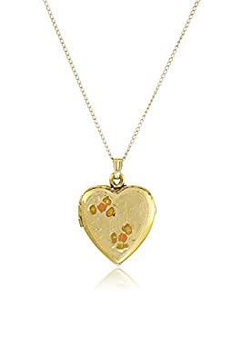 "14k Yellow Gold Filled Tricolor ""Grandma"" Heart Locket Pendant Necklace, 18"""
