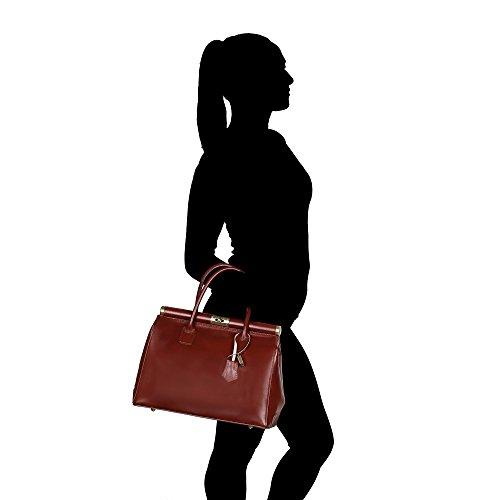 roulettes véritable Italie Cm Sac Borse femme à main cuir Sac Chicca à en 35x28x16 en avec Fabriqué Marron bracelet q1OXwnvT