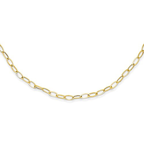 (14k Yellow Gold Oval Cuban Link Chain Necklace Pendant Charm Fancy Fine Jewelry Gifts For Women For Her)