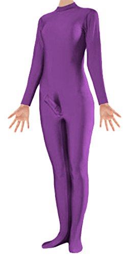 [Marvoll Unisex Lycra Spandex Zentai Unitard Penis Costume for Kids and Adults (Medium, Purple)] (Holloween Costumes Designs)