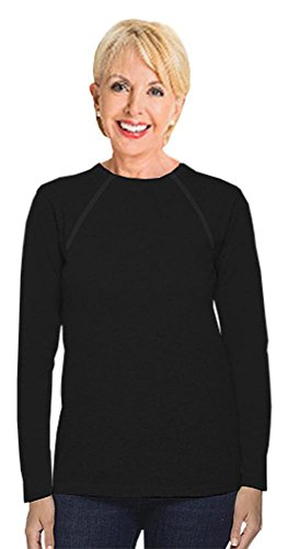 Women Port (Comfy Chemo® Women's Long Sleeve Chemotherapy Port Zipper Shirts (Small, Black))