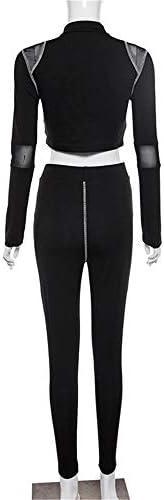 レディースジャージ上下セット 女性のスポーツのヨガの体操服黒のメッシュステッチ長袖カーディガンスーツ (サイズ : S)