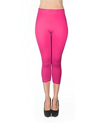 Women's Soho Solid Color Capri Leggings (2XL, Fuchsia)
