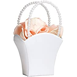 White Flower Basket Flower Girl Basket