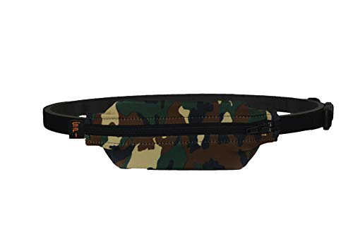 SPIbelt Kids No-Bounce Belt with Hole for Insulin Pump, Medical Devices or Headphones for Active Kids! (Camo with Black Zipper)