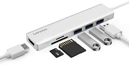 Lenovo USB C Hub, Ultra Slim Aluminum USB C Adapter With 3 USB 3.0 Ports, 4K HDMI, SD/TF Card Reader, Compatible For USB Type C Devices