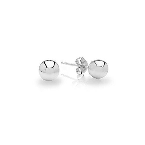IcedTime 14k White Gold Ball Earrings Children/Adult Size 2, 3, 4, 5, 6, 7, 8 MM (18k Gold Ball Earrings)