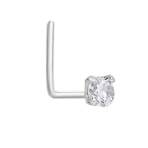 - Lavari - 14K White Gold 2mm White Cubic Zirconium Nose Ring L-Shape 22G