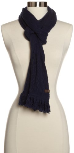 True Religion Women's Cable Knit Scarf, Navy, One Size