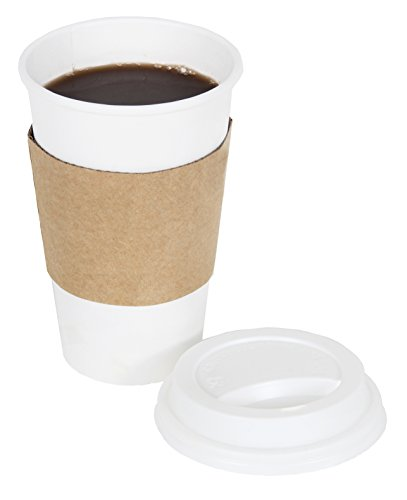 White 16 Ounce Mug (CucinaPrime 100 Pack Paper Coffee Hot Cups WHITE with Travel Lids and Sleeves - 16OZ)
