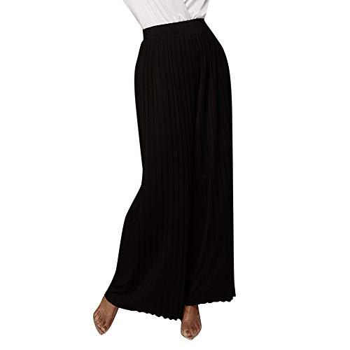Orangeskycn Women Casual Palazzo High Waist Wide Leg Culotte Loose Pants Black - Capris Womens Isis