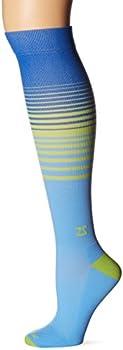 Fresh Legs Classic Stripes Compression Socks, Sky Blue/Kiwi, Large