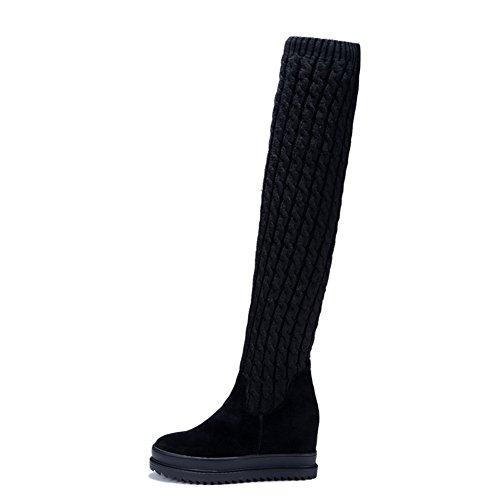 Stivali In Balamasa Di e Womens Pull Nera Solida pelle Tessuto Piattaforma on w60xYqg0r