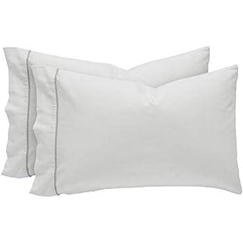 Rivet Contrast Hem Breathable Cotton Linen Pillowcase Set, King, Set of 2, White / Vapor,