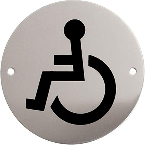 iGadgitz Home U7031 - Aluminium WC Sign, Toilet Sign, Washroom Sign, Restroom Sign, Lavatory Sign - Toilets, Lavatories, Cloakrooms, Restrooms, Washrooms - Silver with Black Logo - Disabled Access ()