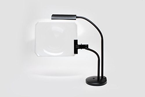 All black Desk lamp with led lights, and a page magnifier that's the biggest anywhere,12 x 14 inches and a 3X power magnifier (Really), bright cool natural lights. Enlarge with - Biggest Lens