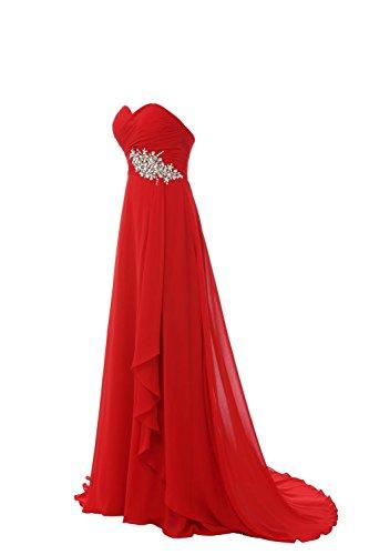 YiYaDawn Langes Elegantes Ballkleid Abendkleid mit Schleppe Steinen für Damen Rot BXxwM