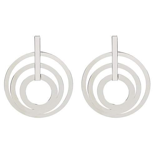 (Women Earrings,Big Circle Earring Triple Swirl Round Link Statement Earrings Fashion Jewelry (Silver))