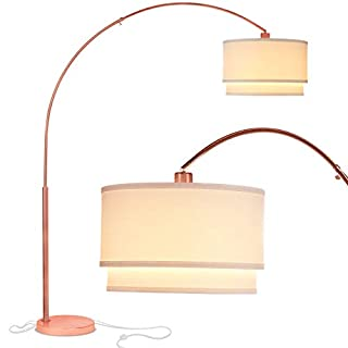 Brightech Mason - Arc Floor Lamp with Unique Hanging Drum Shade for Living Room Matches Your Decor - Arching Over the Couch From Behind, This Standing Pole Light Gets Compliments - Rose Gold