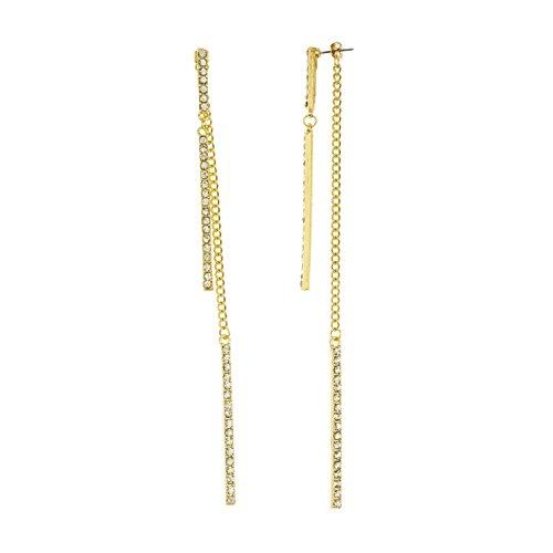 Goldtone Dangling Stone Bar Chain 6 Inch Drop Earrings