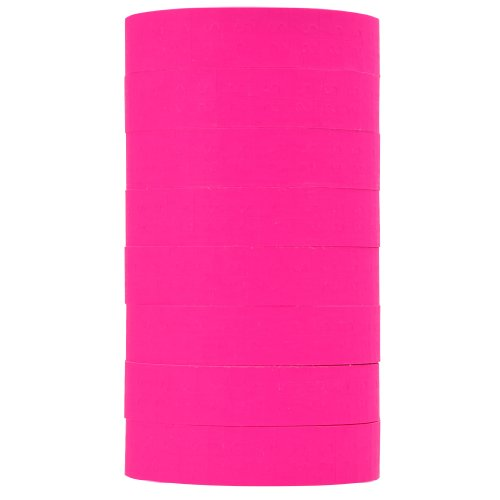 (Fluorescent Pink Pricing Labels to fit Monarch 1131 Pricers. 8 Rolls with 1 Free Ink Roller.)